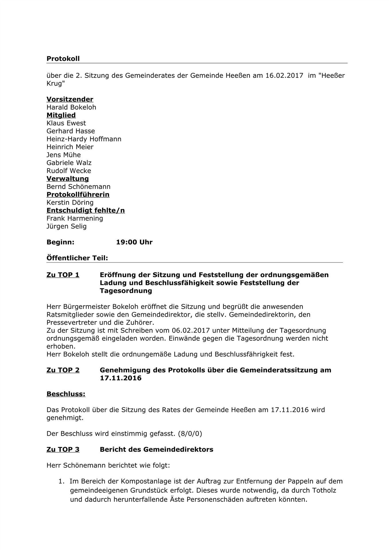 Ausgezeichnet Tagesordnung Der Sitzung Des Formats Zeitgenössisch ...